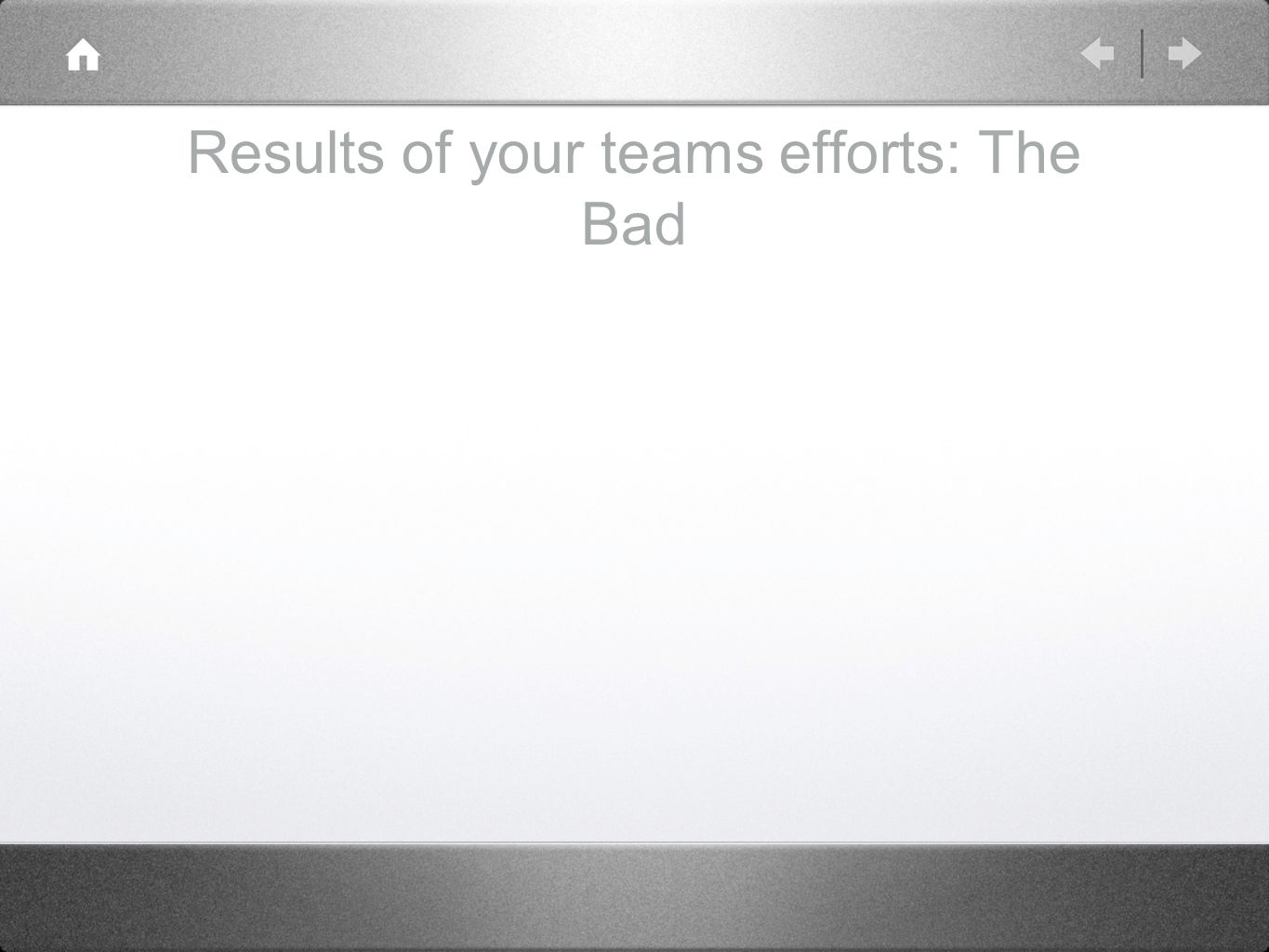 Results of your teams efforts: The Bad
