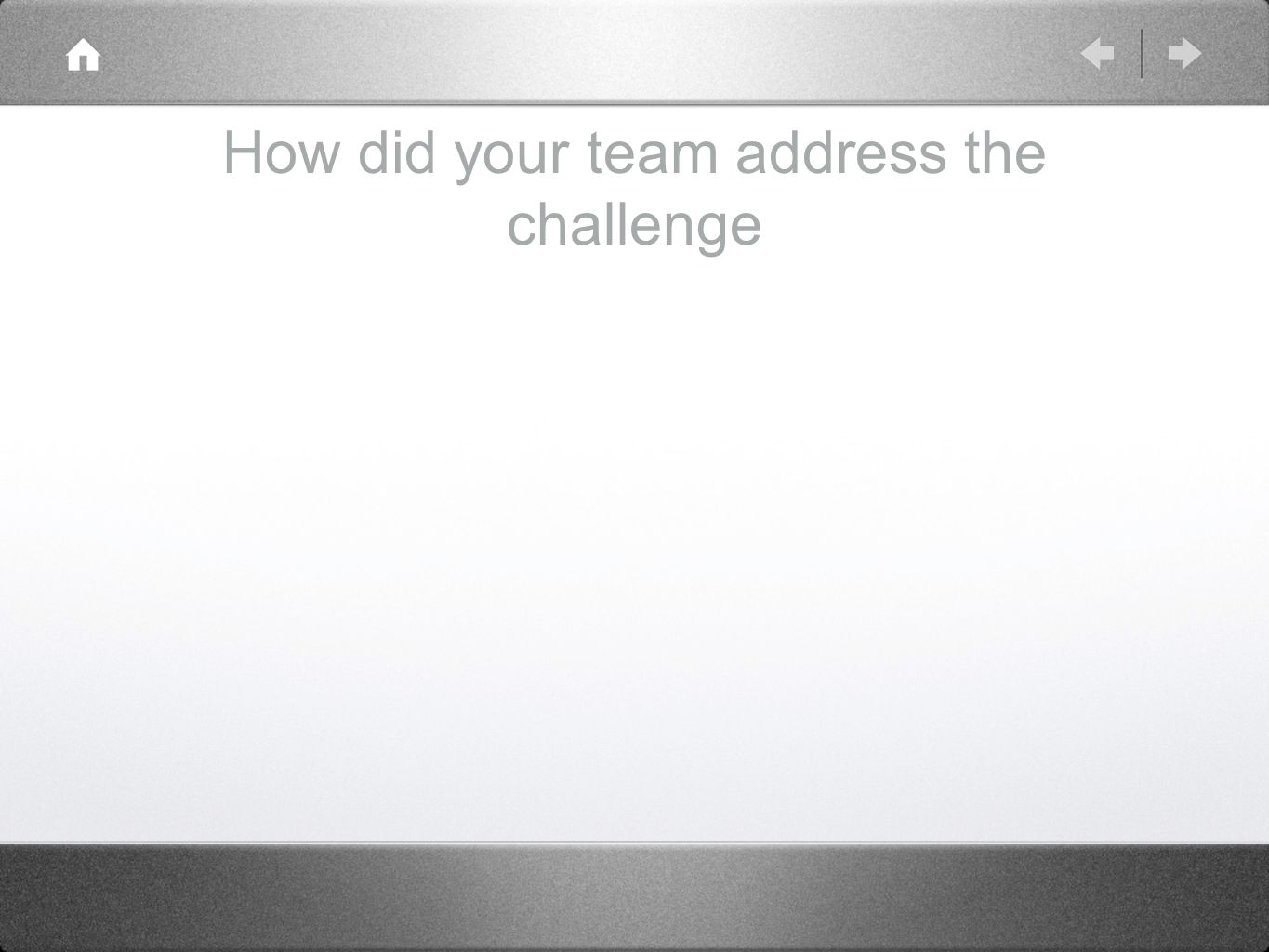 How did your team address the challenge