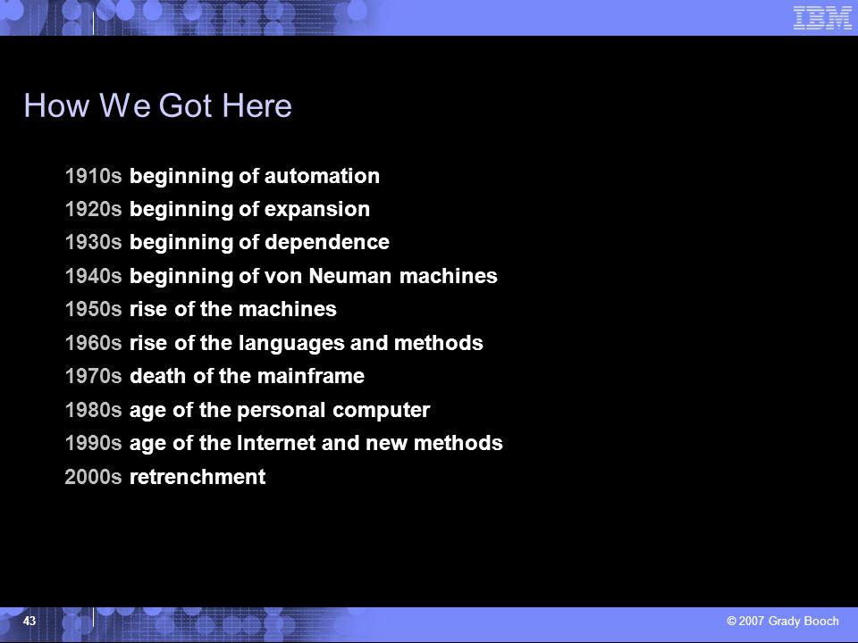 © 2007 Grady Booch 43 How We Got Here 1910s beginning of automation 1920s beginning of expansion 1930s beginning of dependence 1940s beginning of von