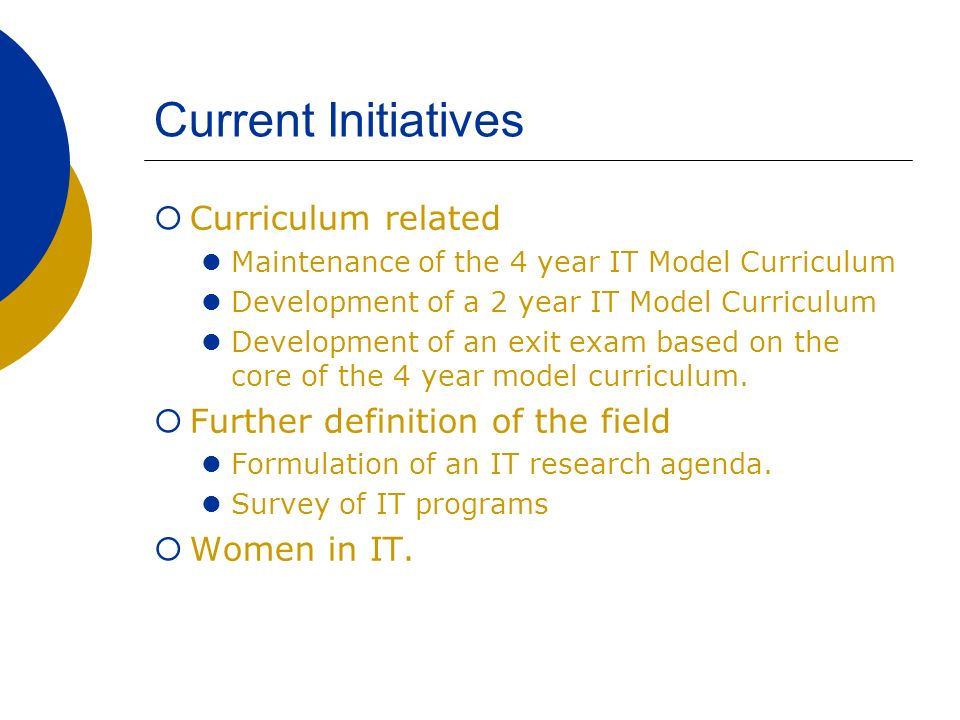 Current Initiatives Curriculum related Maintenance of the 4 year IT Model Curriculum Development of a 2 year IT Model Curriculum Development of an exit exam based on the core of the 4 year model curriculum.