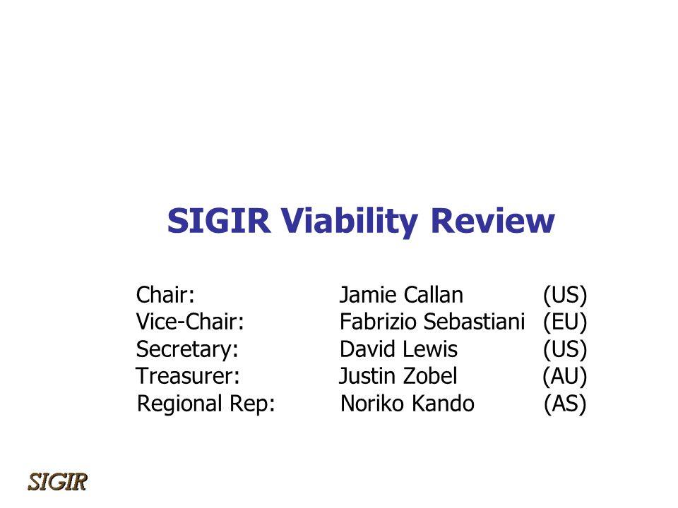 SIGIR Viability Review Chair: Jamie Callan(US) Vice-Chair: Fabrizio Sebastiani(EU) Secretary:David Lewis(US) Treasurer:Justin Zobel(AU) Regional Rep:N