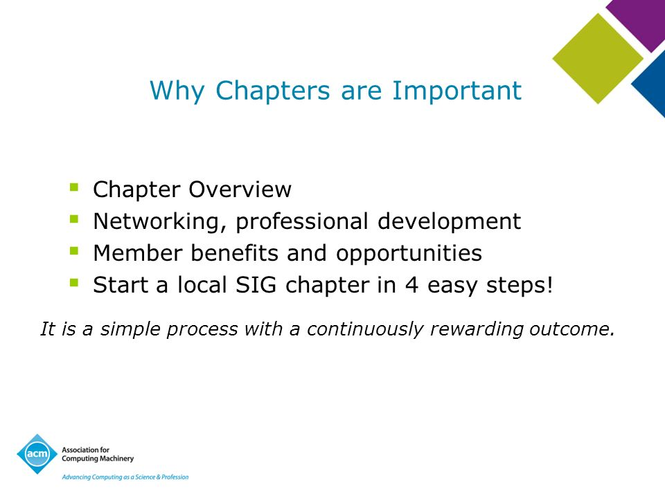 Why Chapters are Important Chapter Overview Networking, professional development Member benefits and opportunities Start a local SIG chapter in 4 easy steps.