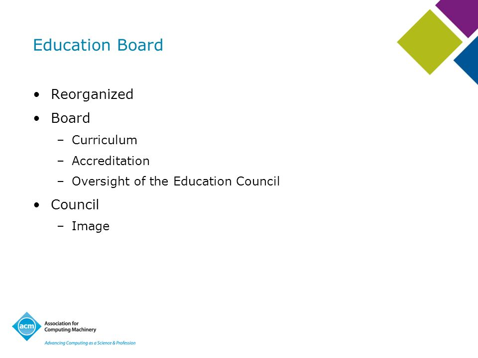 Education Board Reorganized Board –Curriculum –Accreditation –Oversight of the Education Council Council –Image