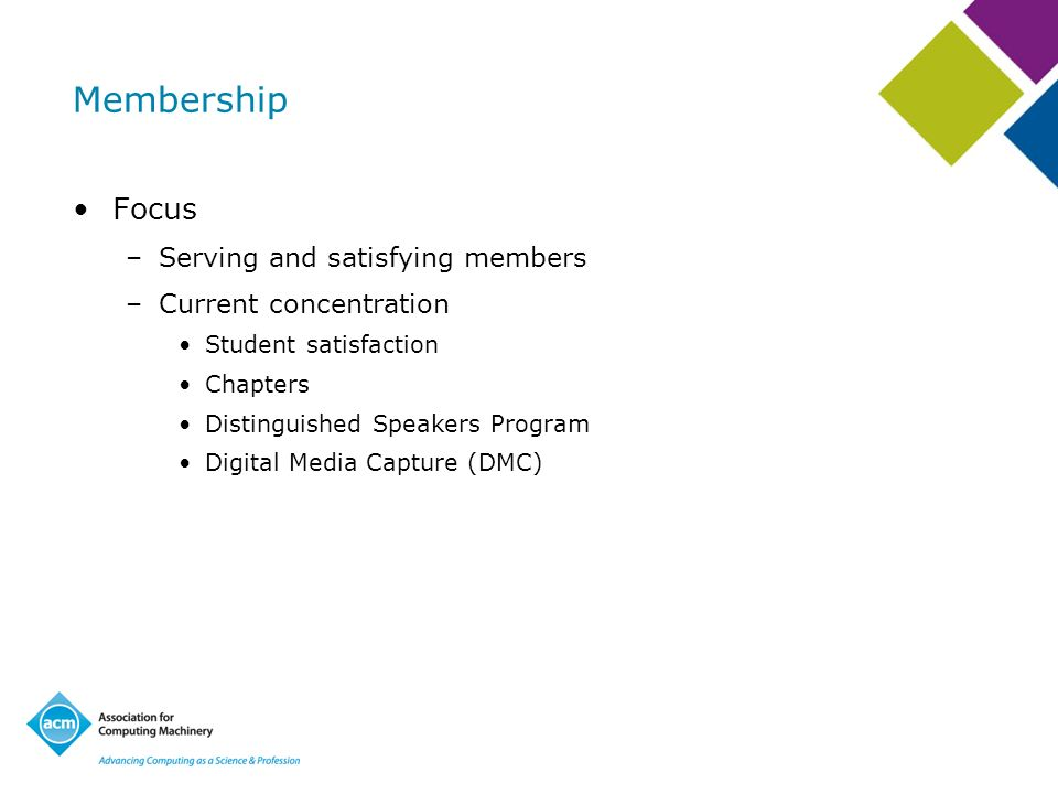 Membership Focus –Serving and satisfying members –Current concentration Student satisfaction Chapters Distinguished Speakers Program Digital Media Cap