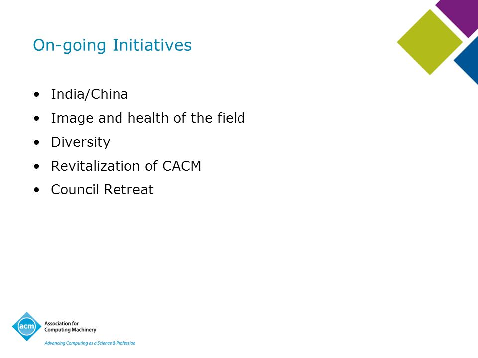 On-going Initiatives India/China Image and health of the field Diversity Revitalization of CACM Council Retreat