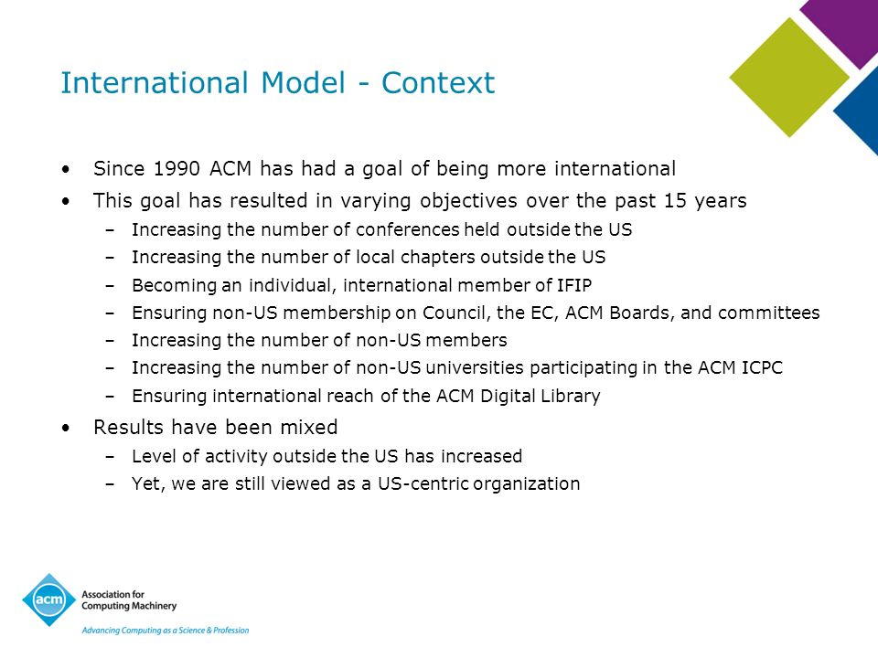 International Model - Context Since 1990 ACM has had a goal of being more international This goal has resulted in varying objectives over the past 15 years –Increasing the number of conferences held outside the US –Increasing the number of local chapters outside the US –Becoming an individual, international member of IFIP –Ensuring non-US membership on Council, the EC, ACM Boards, and committees –Increasing the number of non-US members –Increasing the number of non-US universities participating in the ACM ICPC –Ensuring international reach of the ACM Digital Library Results have been mixed –Level of activity outside the US has increased –Yet, we are still viewed as a US-centric organization