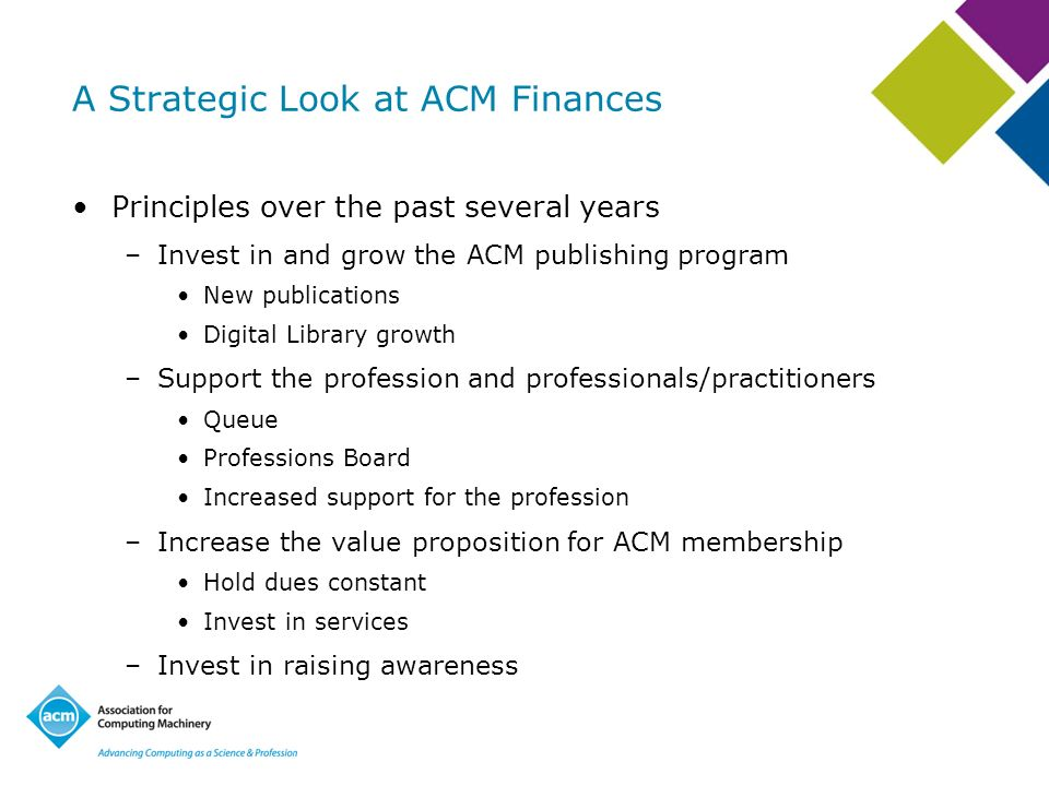 A Strategic Look at ACM Finances Principles over the past several years –Invest in and grow the ACM publishing program New publications Digital Library growth –Support the profession and professionals/practitioners Queue Professions Board Increased support for the profession –Increase the value proposition for ACM membership Hold dues constant Invest in services –Invest in raising awareness