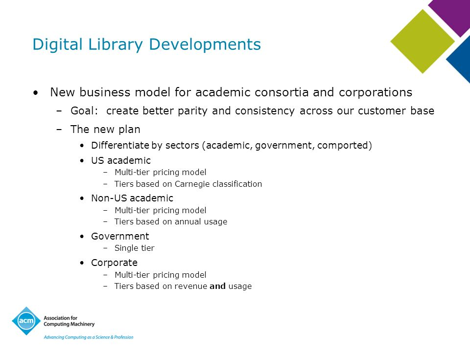 Digital Library Developments New business model for academic consortia and corporations –Goal: create better parity and consistency across our custome