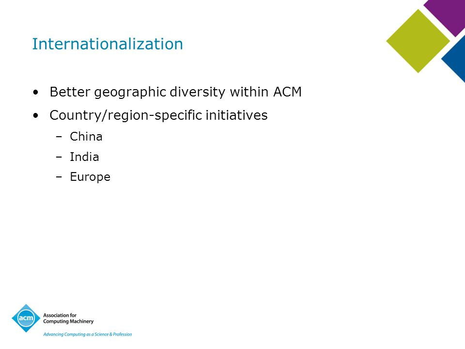 Better geographic diversity within ACM Country/region-specific initiatives –China –India –Europe
