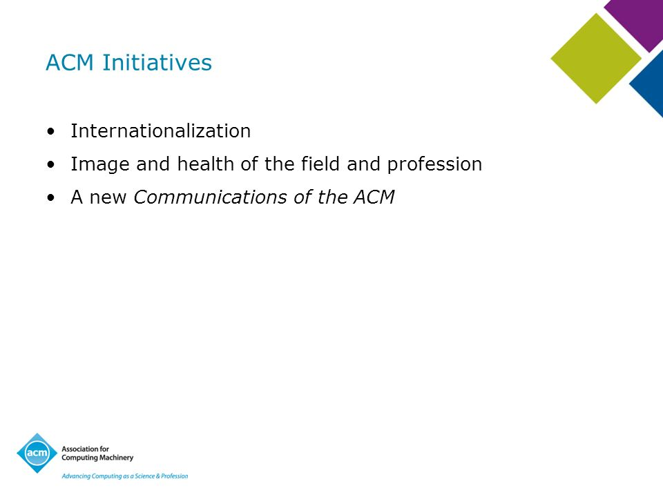 ACM Initiatives Internationalization Image and health of the field and profession A new Communications of the ACM