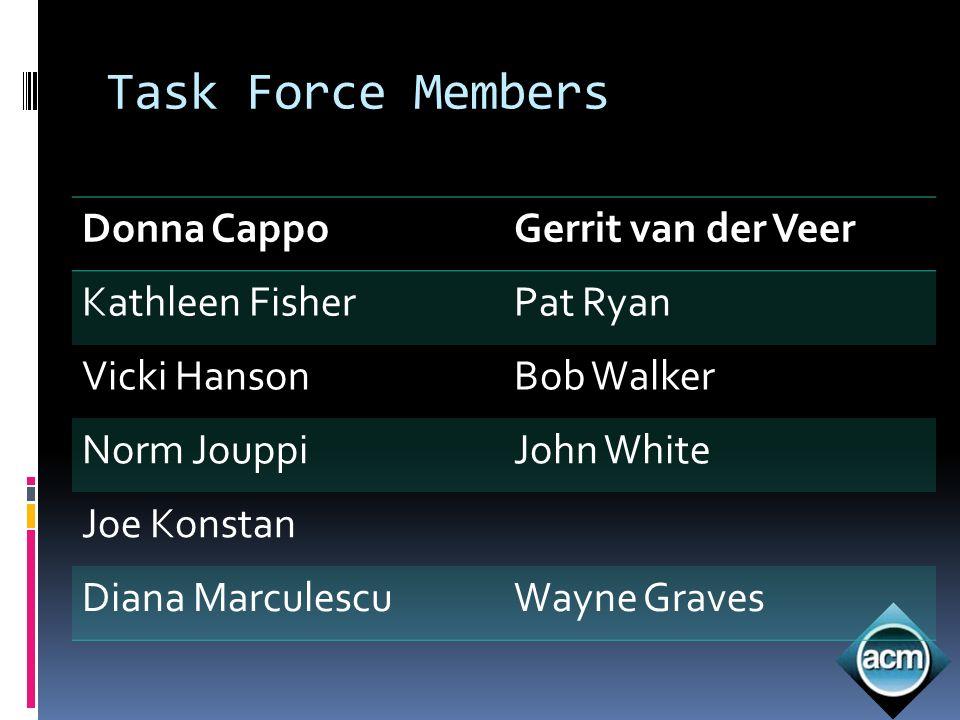 Task Force Members Donna CappoGerrit van der Veer Kathleen FisherPat Ryan Vicki HansonBob Walker Norm JouppiJohn White Joe Konstan Diana MarculescuWay