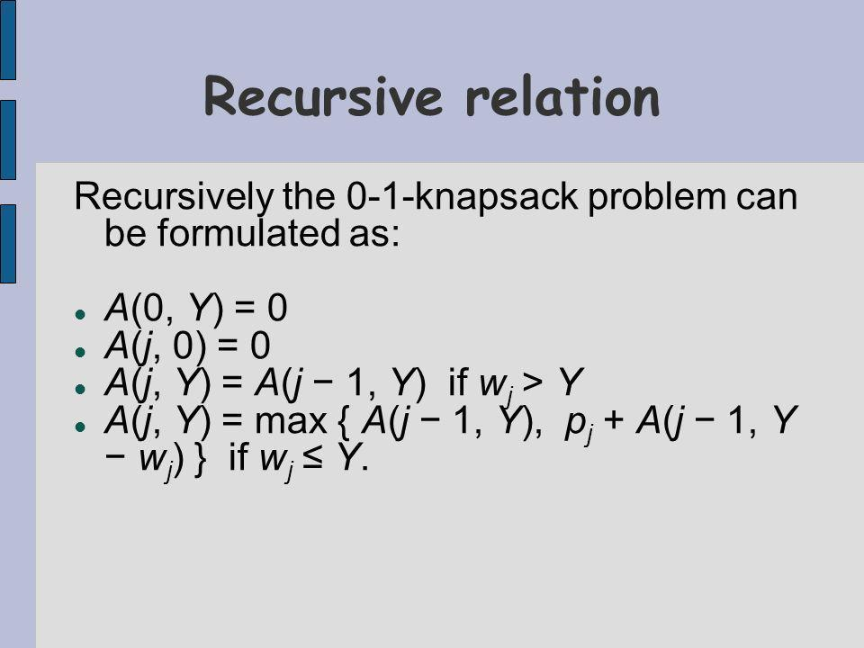 Recursively the 0-1-knapsack problem can be formulated as: A(0, Y) = 0 A(j, 0) = 0 A(j, Y) = A(j 1, Y) if w j > Y A(j, Y) = max { A(j 1, Y), p j + A(j 1, Y w j ) } if w j Y.