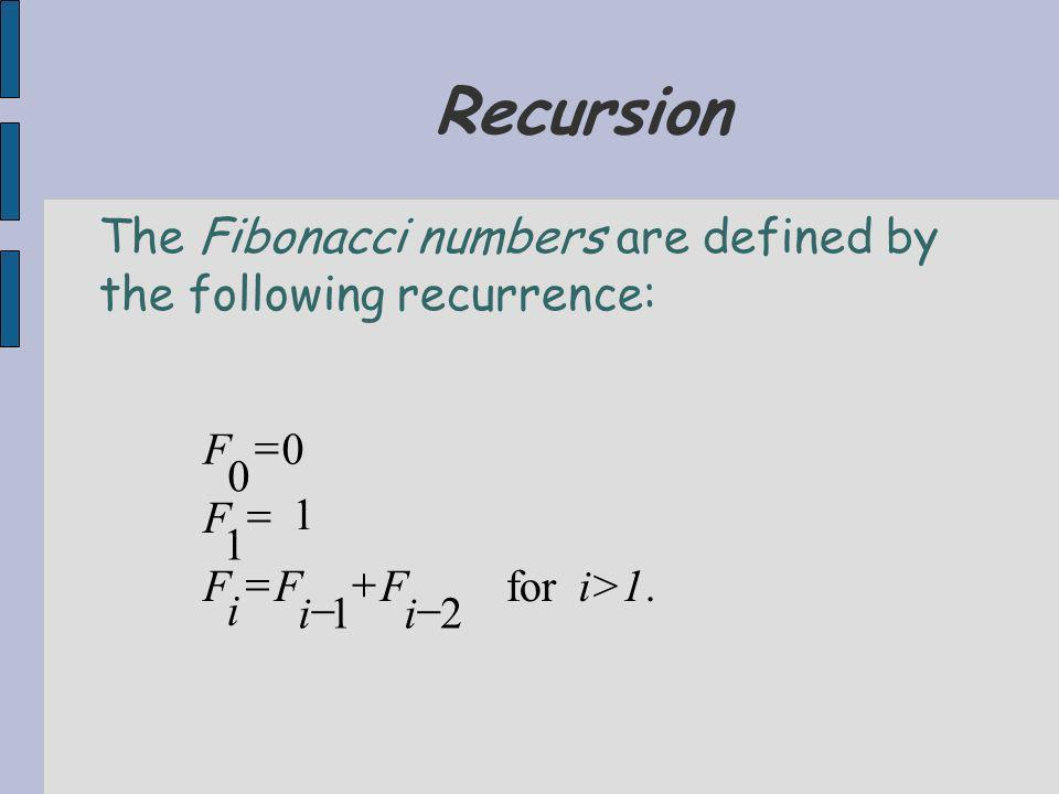 Recursion.for 21 1 1 0 0 i>1 i F i F i F F F The Fibonacci numbers are defined by the following recurrence: