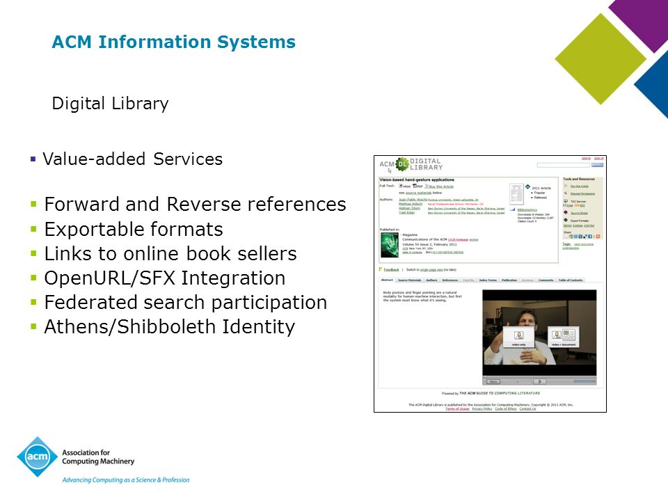 Forward and Reverse references Exportable formats Links to online book sellers OpenURL/SFX Integration Federated search participation Athens/Shibboleth Identity ACM Information Systems Digital Library Value-added Services