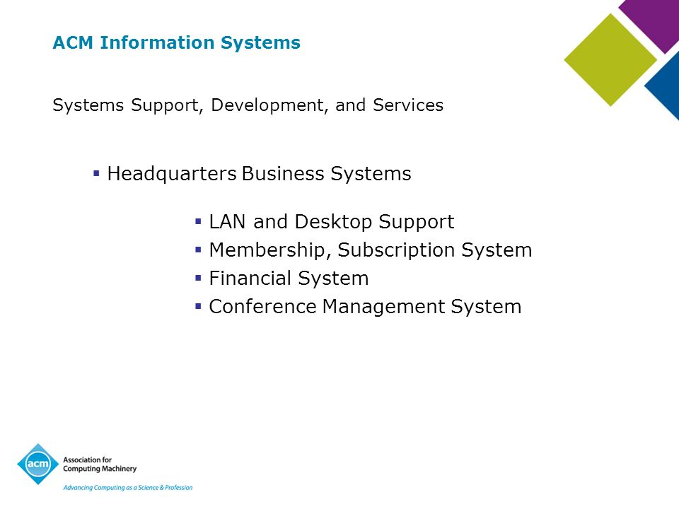 ACM Information Systems Systems Support, Development, and Services Headquarters Business Systems LAN and Desktop Support Membership, Subscription System Financial System Conference Management System
