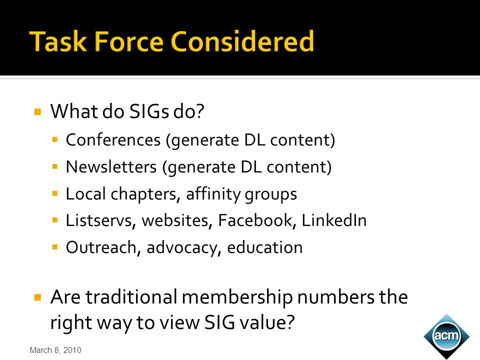 What do SIGs do.