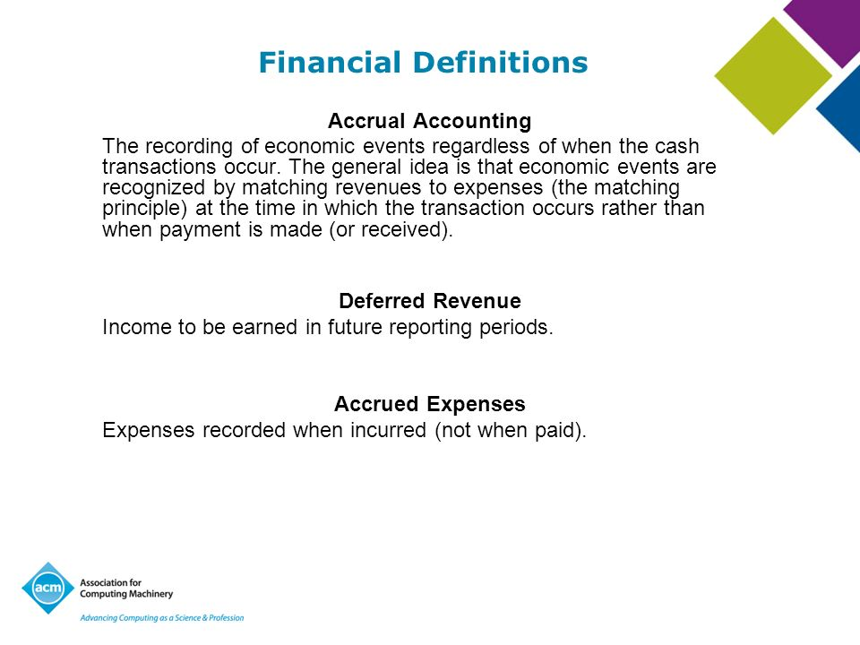 Financial Definitions cont Surplus The net result when revenue exceeds expenses.