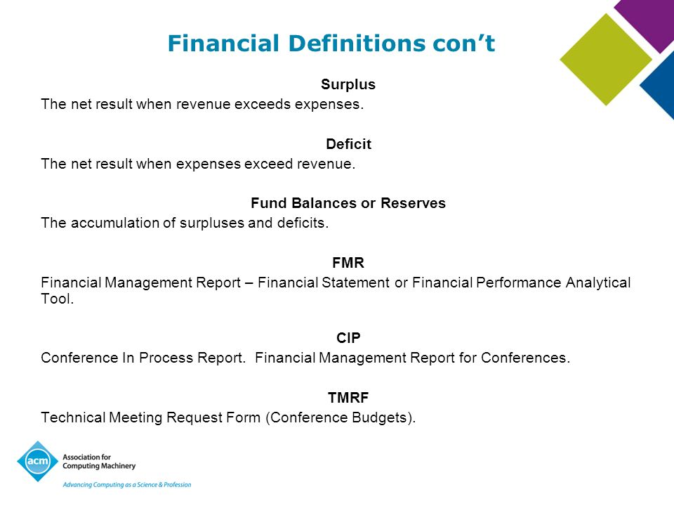 Financial Definitions cont Overhead/Allocation This fee is part of doing business at ACM.