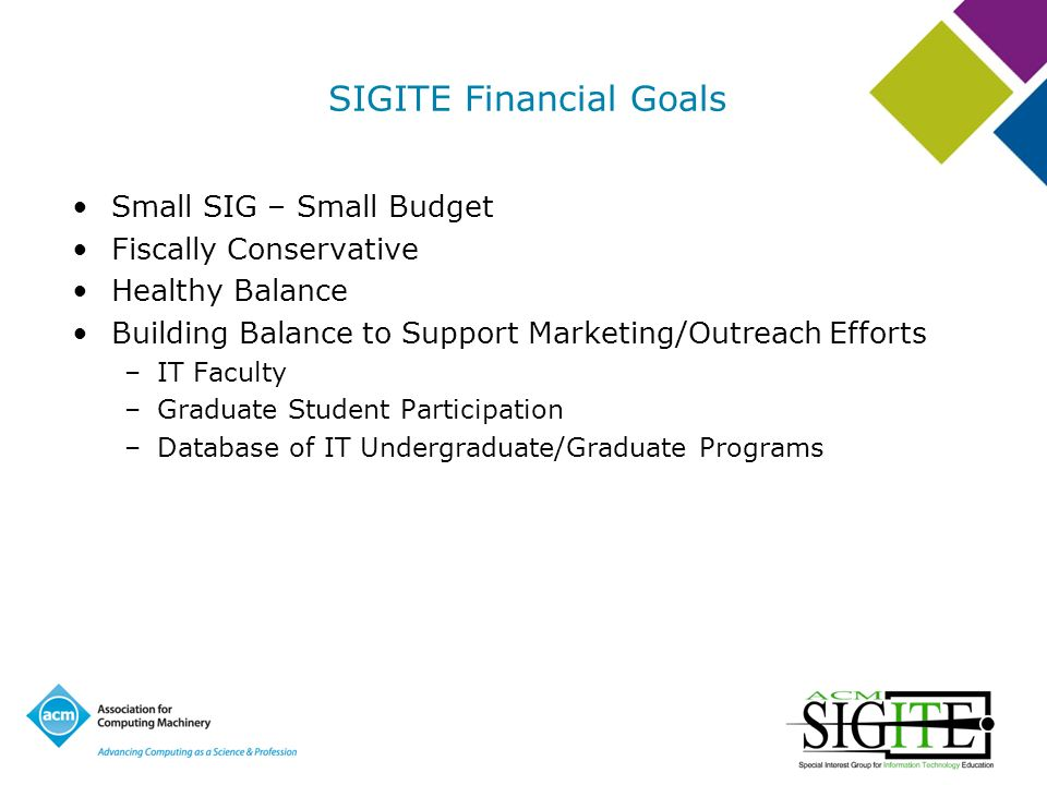 SIGITE Financial Goals Small SIG – Small Budget Fiscally Conservative Healthy Balance Building Balance to Support Marketing/Outreach Efforts –IT Faculty –Graduate Student Participation –Database of IT Undergraduate/Graduate Programs