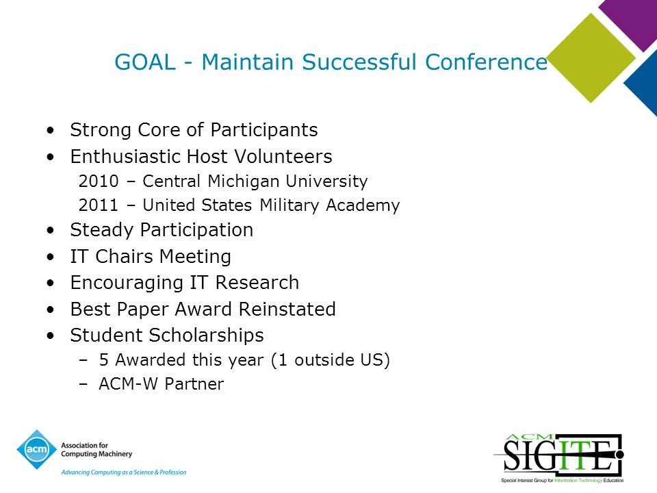 GOAL - Maintain Successful Conference Strong Core of Participants Enthusiastic Host Volunteers 2010 – Central Michigan University 2011 – United States Military Academy Steady Participation IT Chairs Meeting Encouraging IT Research Best Paper Award Reinstated Student Scholarships –5 Awarded this year (1 outside US) –ACM-W Partner
