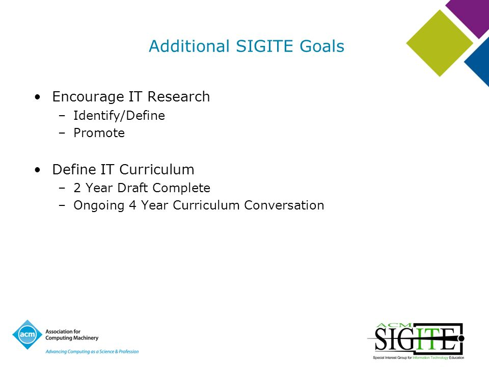 Additional SIGITE Goals Encourage IT Research –Identify/Define –Promote Define IT Curriculum –2 Year Draft Complete –Ongoing 4 Year Curriculum Conversation