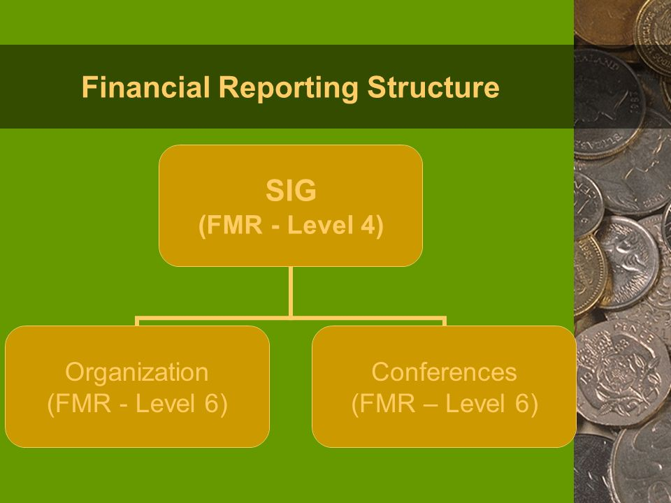 Financial Reporting Structure SIG (FMR - Level 4) Organization (FMR - Level 6) Conferences (FMR – Level 6)