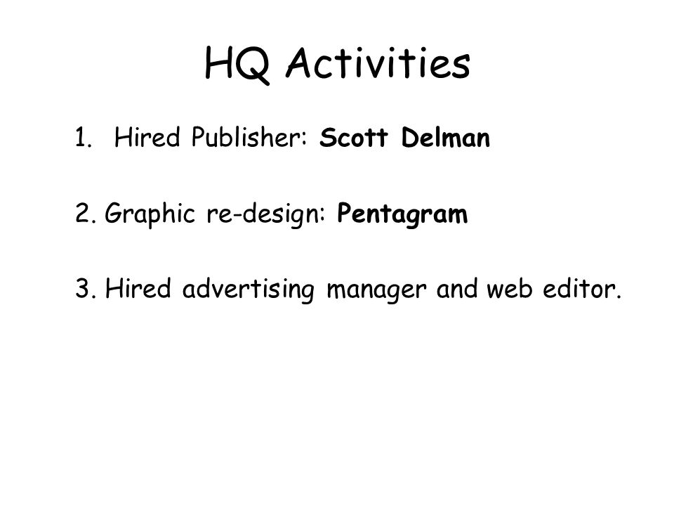 HQ Activities 1.Hired Publisher: Scott Delman 2. Graphic re-design: Pentagram 3.
