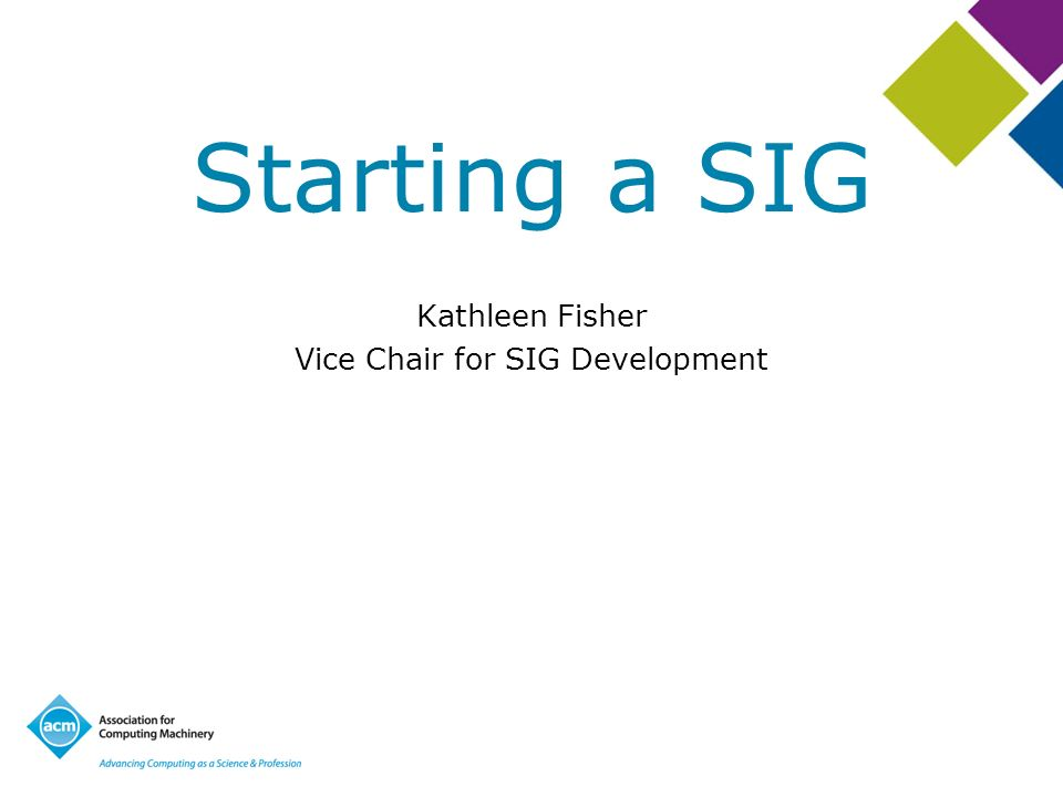Starting a SIG Kathleen Fisher Vice Chair for SIG Development