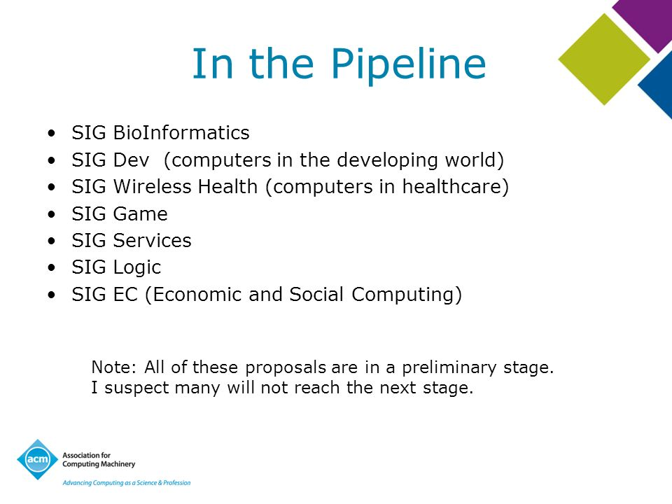 In the Pipeline SIG BioInformatics SIG Dev (computers in the developing world) SIG Wireless Health (computers in healthcare) SIG Game SIG Services SIG Logic SIG EC (Economic and Social Computing) Note: All of these proposals are in a preliminary stage.
