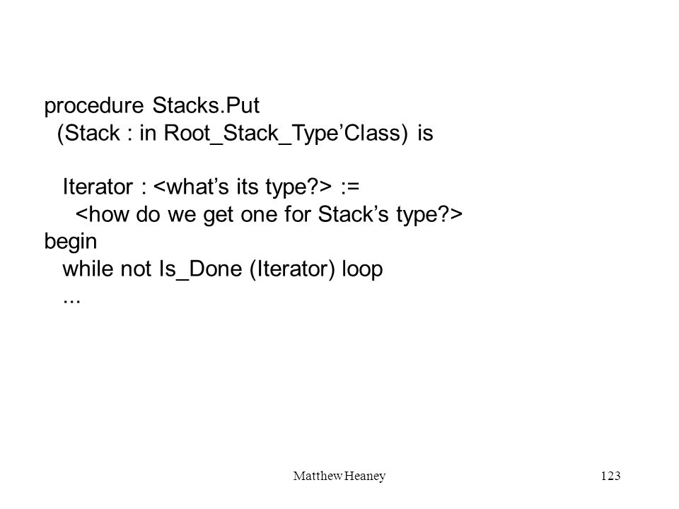 Matthew Heaney123 procedure Stacks.Put (Stack : in Root_Stack_TypeClass) is Iterator : := begin while not Is_Done (Iterator) loop...