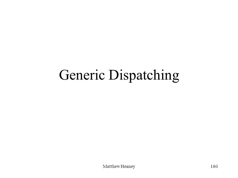 Matthew Heaney160 Generic Dispatching
