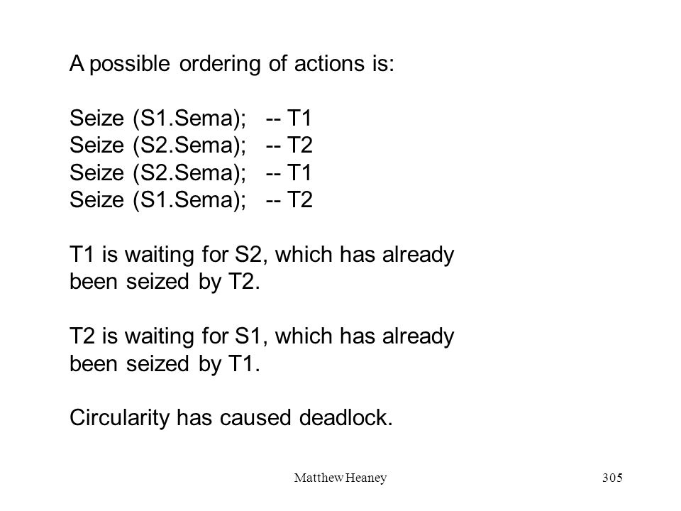 Matthew Heaney305 A possible ordering of actions is: Seize (S1.Sema); -- T1 Seize (S2.Sema); -- T2 Seize (S2.Sema); -- T1 Seize (S1.Sema); -- T2 T1 is waiting for S2, which has already been seized by T2.