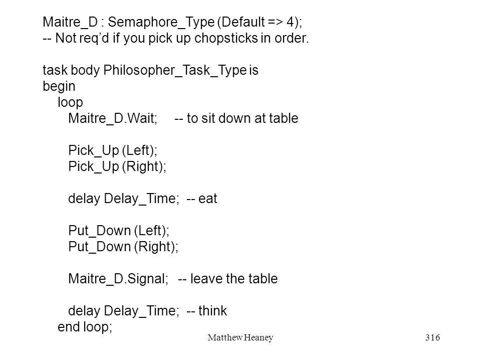 Matthew Heaney316 Maitre_D : Semaphore_Type (Default => 4); -- Not reqd if you pick up chopsticks in order.