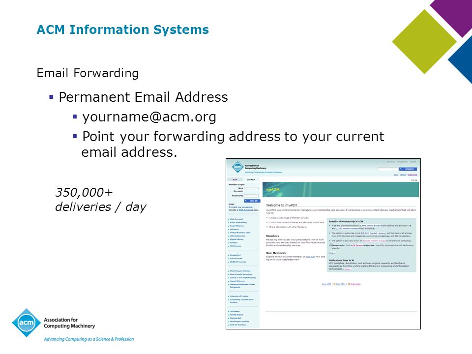 ACM Information Systems  Forwarding Permanent  Address Point your forwarding address to your current  address.
