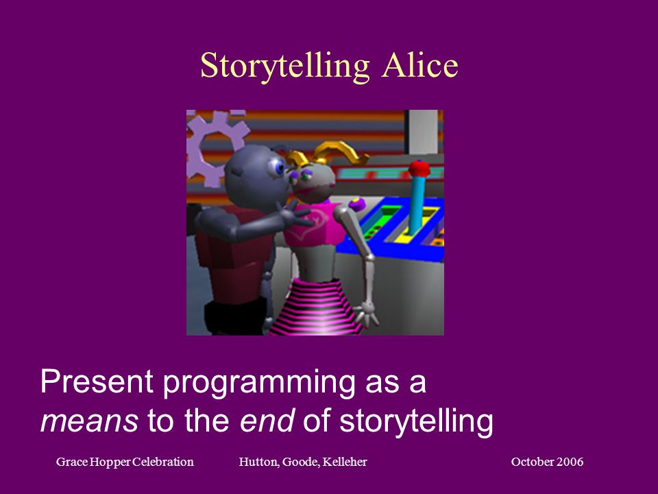 October 2006Grace Hopper Celebration Hutton, Goode, Kelleher Storytelling Alice Present programming as a means to the end of storytelling