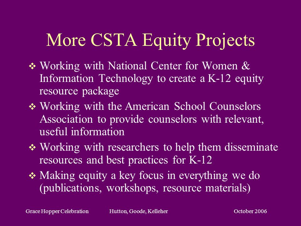 October 2006Grace Hopper Celebration Hutton, Goode, Kelleher More CSTA Equity Projects Working with National Center for Women & Information Technology to create a K-12 equity resource package Working with the American School Counselors Association to provide counselors with relevant, useful information Working with researchers to help them disseminate resources and best practices for K-12 Making equity a key focus in everything we do (publications, workshops, resource materials)