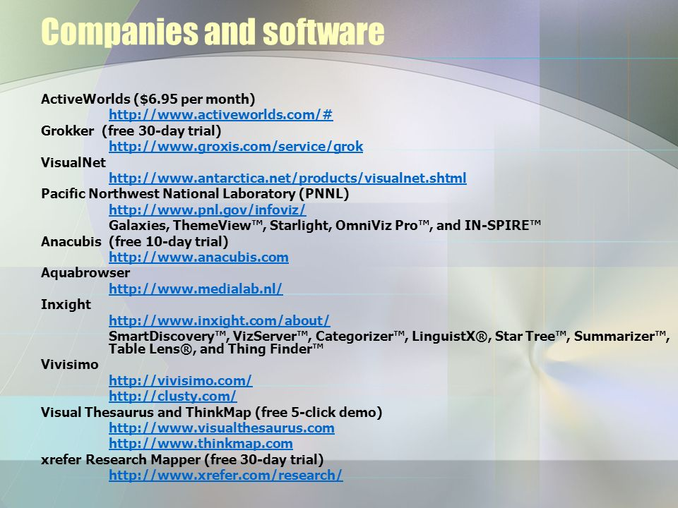 Companies and software ActiveWorlds ($6.95 per month) http://www.activeworlds.com/# Grokker (free 30-day trial) http://www.groxis.com/service/grok Vis