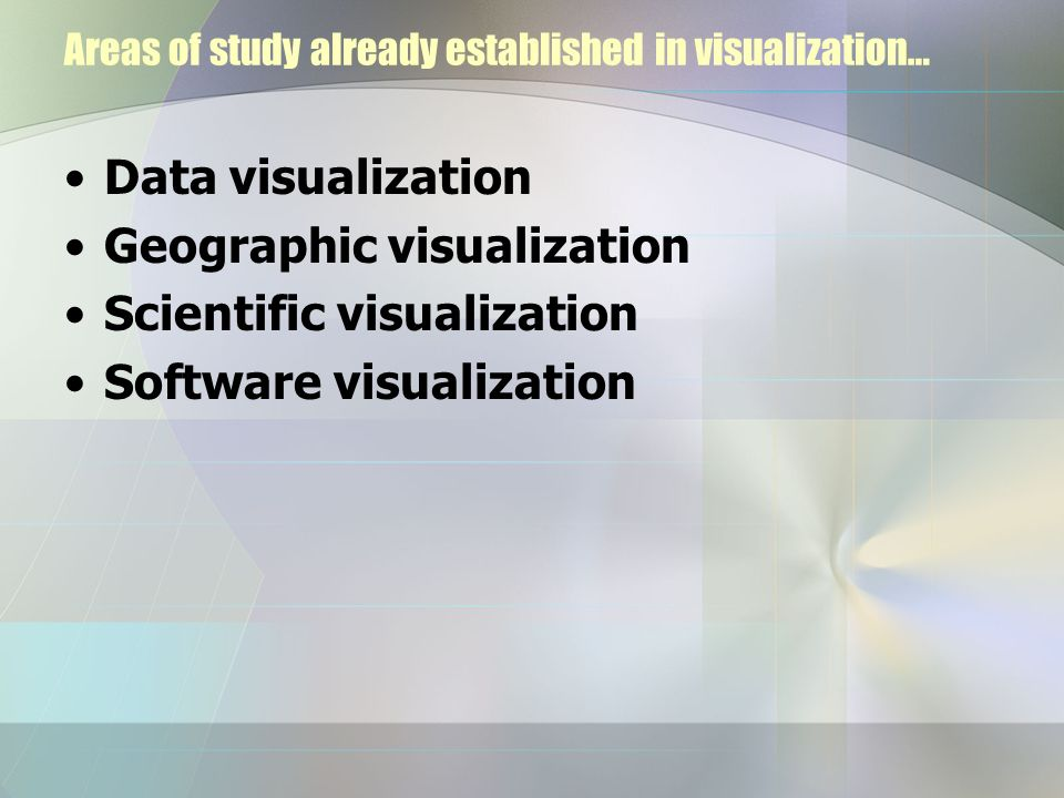 Dimensional types of information visualization Temporal One-dimensional (1D) Two-dimensional (2D) Three-dimensional (3D) Multi-dimensional (MultiD) Tree Network Workspace See Olive: On-line Library of Information Visualization Environments at http://www.otal.umd.edu/Olive/ http://www.otal.umd.edu/Olive/