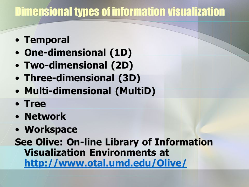Dimensional types of information visualization Temporal One-dimensional (1D) Two-dimensional (2D) Three-dimensional (3D) Multi-dimensional (MultiD) Tr