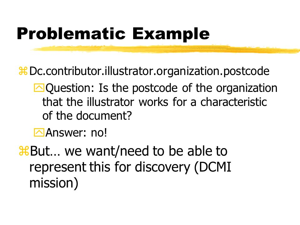 Problematic Example zDc.contributor.illustrator.organization.postcode yQuestion: Is the postcode of the organization that the illustrator works for a characteristic of the document.