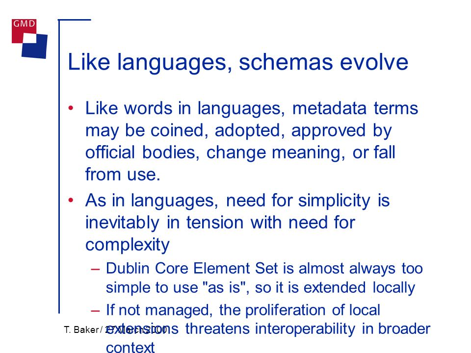 T. Baker / 27 March 2000 Like languages, schemas evolve Like words in languages, metadata terms may be coined, adopted, approved by official bodies, c