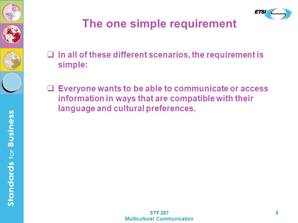 STF 287 Multicultural Communication 5 The one simple requirement In all of these different scenarios, the requirement is simple: Everyone wants to be