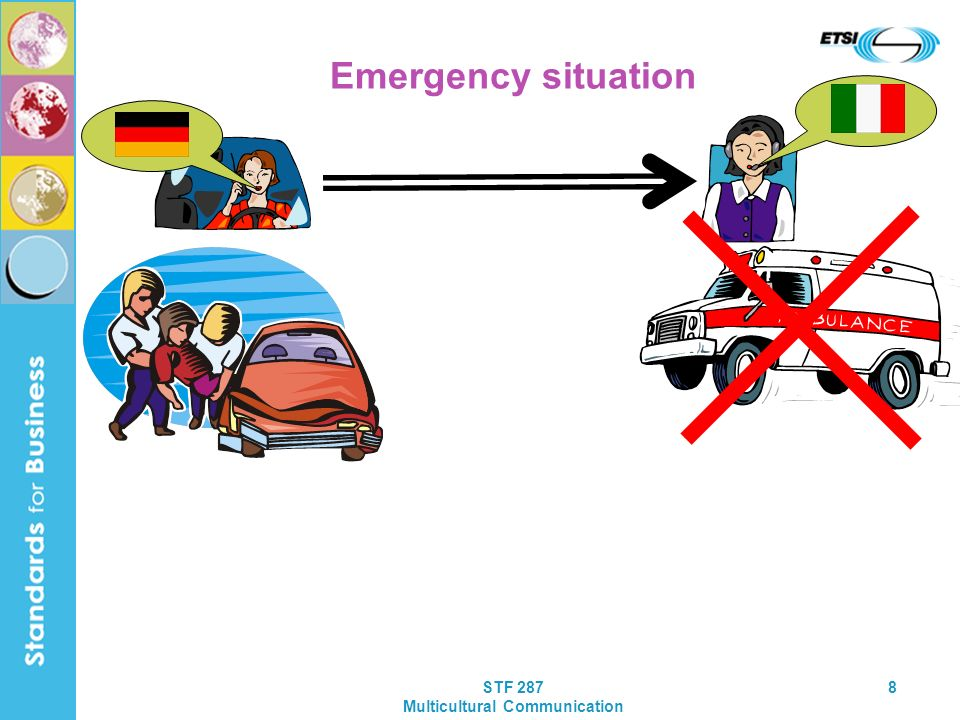 STF 287 Multicultural Communication 8 Emergency situation