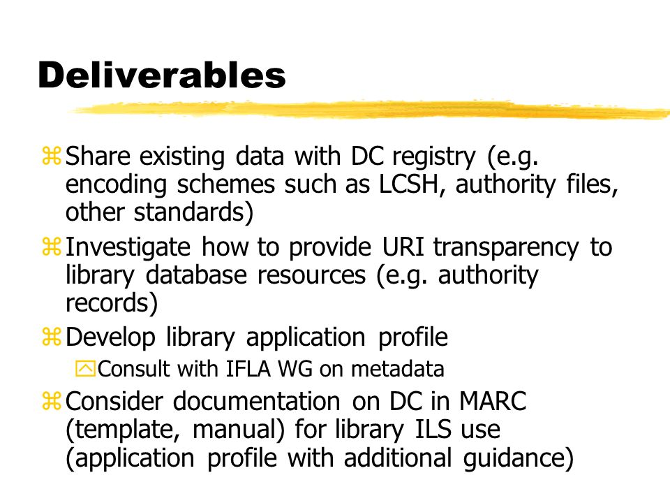 Deliverables zShare existing data with DC registry (e.g.
