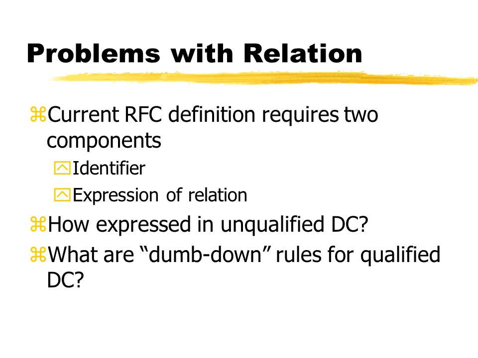 Problems with Relation zCurrent RFC definition requires two components yIdentifier yExpression of relation zHow expressed in unqualified DC.
