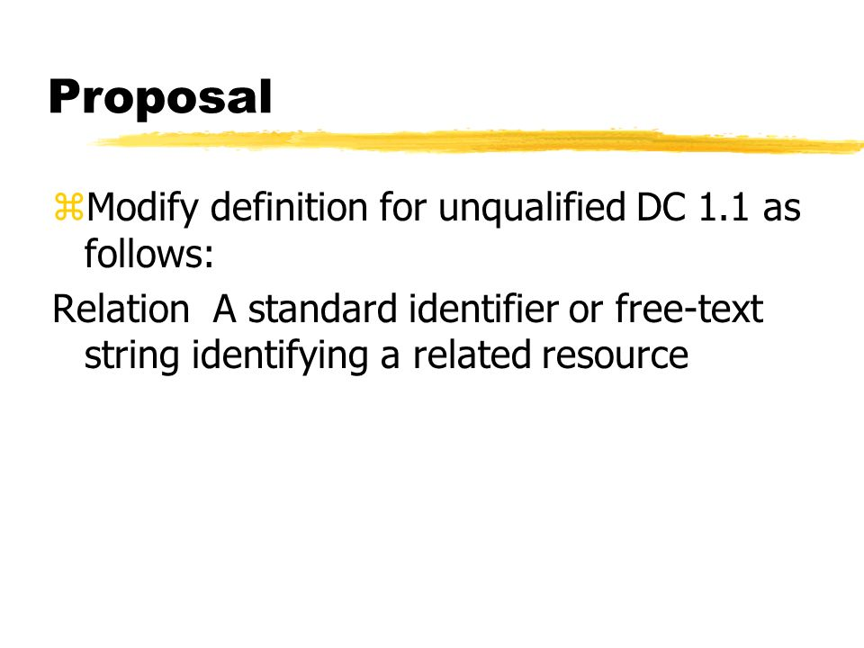 Proposal zModify definition for unqualified DC 1.1 as follows: Relation A standard identifier or free-text string identifying a related resource