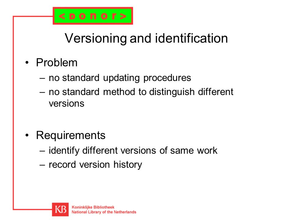 Versioning and identification Problem –no standard updating procedures –no standard method to distinguish different versions Requirements –identify different versions of same work –record version history