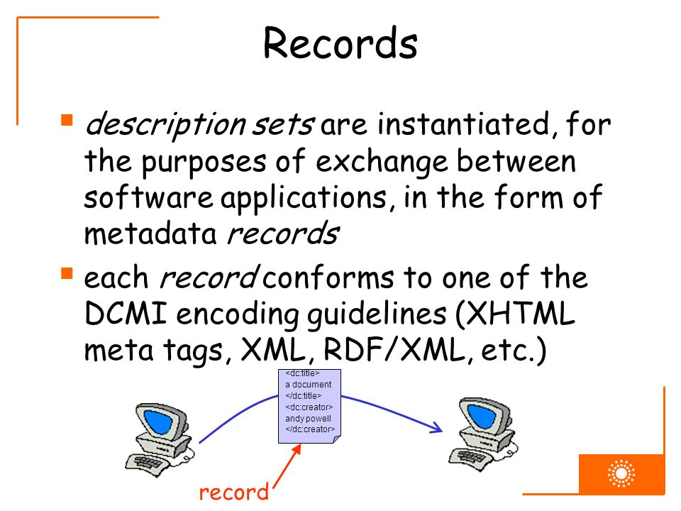 Records description sets are instantiated, for the purposes of exchange between software applications, in the form of metadata records each record conforms to one of the DCMI encoding guidelines (XHTML meta tags, XML, RDF/XML, etc.) a document andy powell record