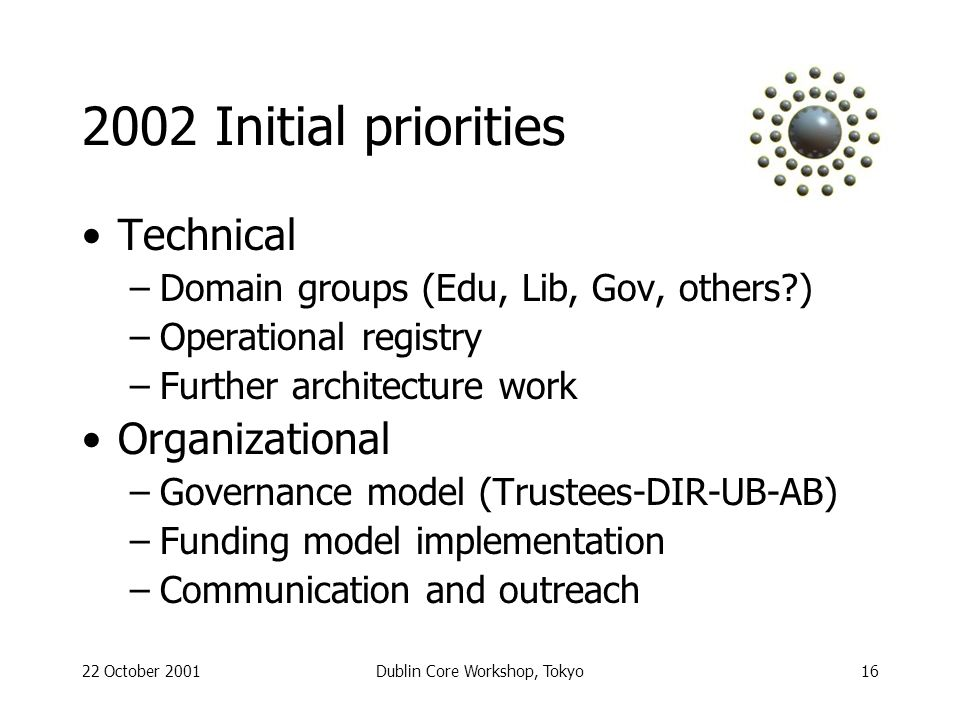 22 October 2001Dublin Core Workshop, Tokyo16 2002 Initial priorities Technical –Domain groups (Edu, Lib, Gov, others ) –Operational registry –Further architecture work Organizational –Governance model (Trustees-DIR-UB-AB) –Funding model implementation –Communication and outreach