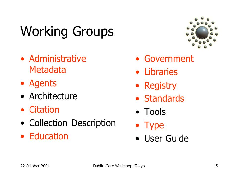 22 October 2001Dublin Core Workshop, Tokyo5 Working Groups Administrative Metadata Agents Architecture Citation Collection Description Education Government Libraries Registry Standards Tools Type User Guide